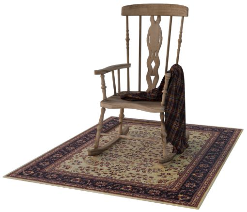 Rocking chair on an Oriental rug